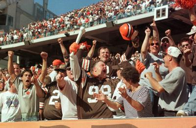 Browns Fans react after defeating the Steelers on September 17, 2000!